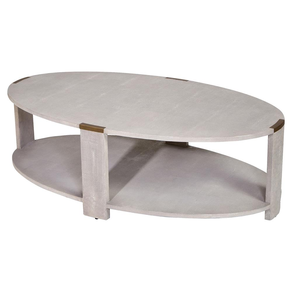 darren modern classic cream faux shagreen coffee table