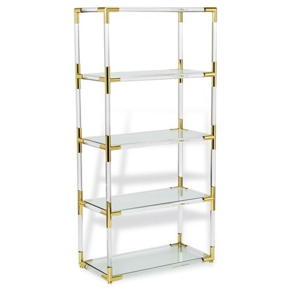 . cecil modern brass corner clear acrylic bookcase  kathy kuo home