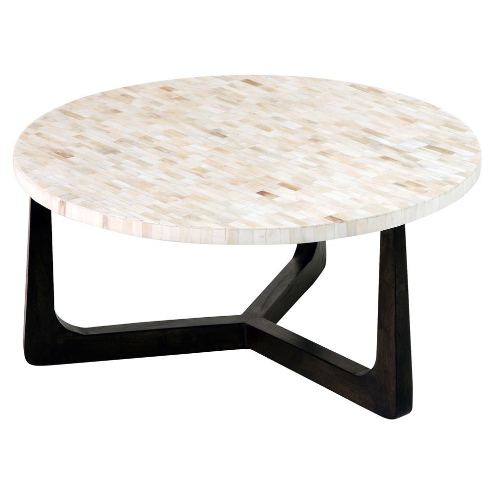 Dimitri Global Bazaar Mosaic Ivory Bone Round Coffee Table 30w Kathy Kuo Home