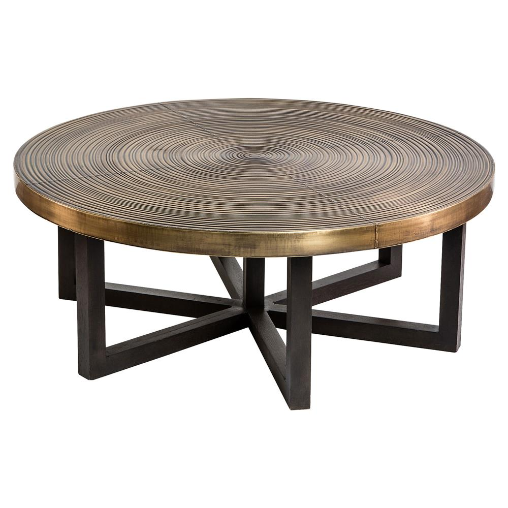 Brass Display Coffee Table: Interlude Reeta Global Bazaar Antique Brass Ring Walnut