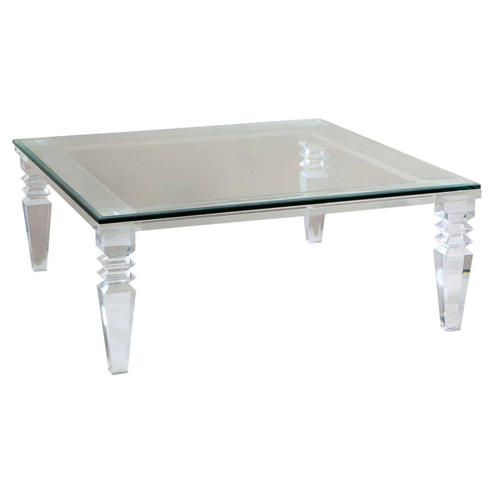 Luxor Modern Classic Square Crystal Cut Acrylic Coffee Table Kathy Kuo Home
