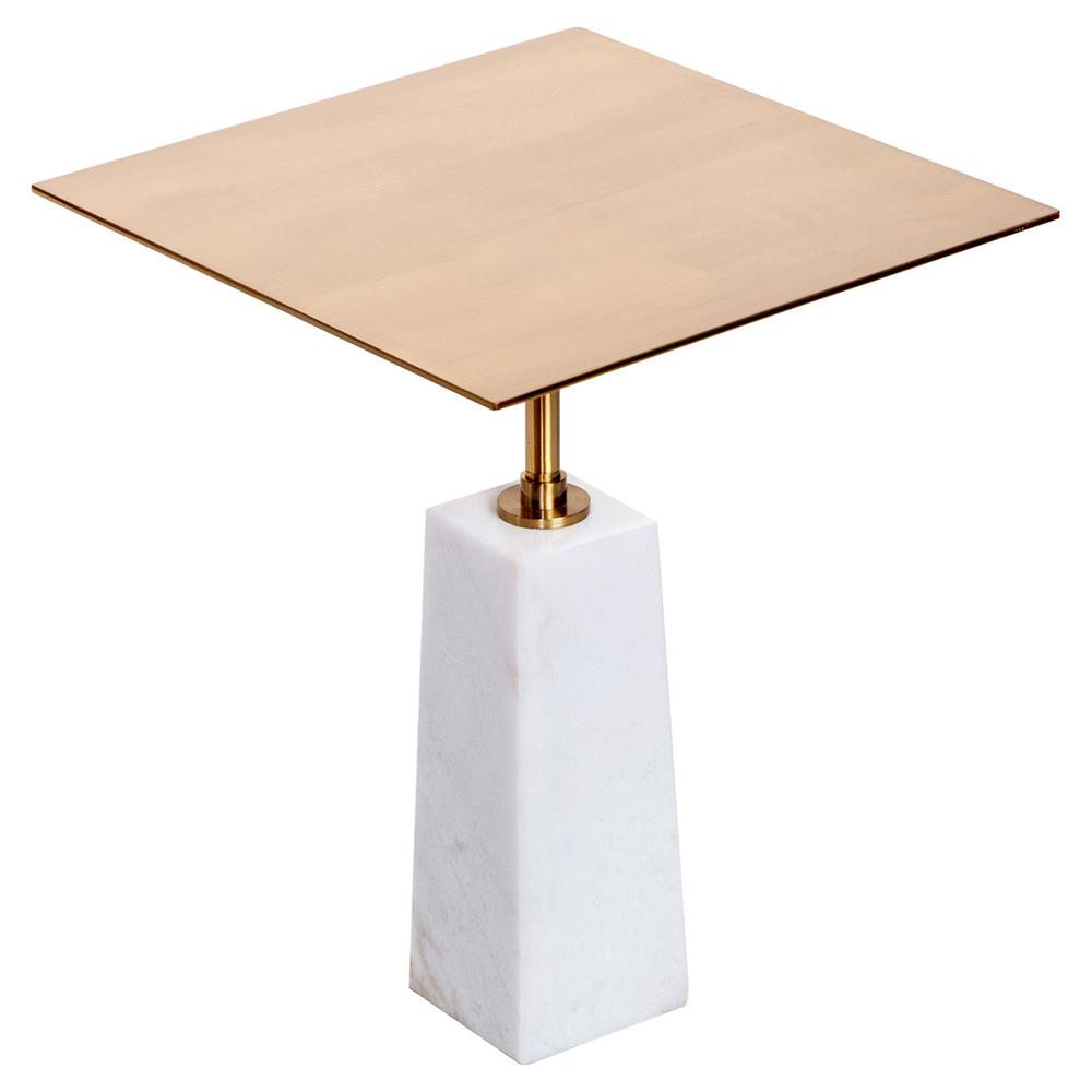 Aldis Modern Classic White Marble Brass Square Side Table