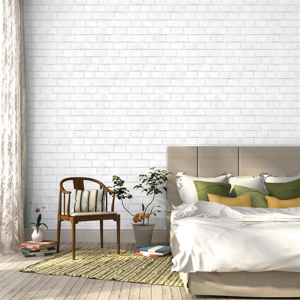 Brick Textured Loft White Removable Wallpaper Kathy Kuo Home
