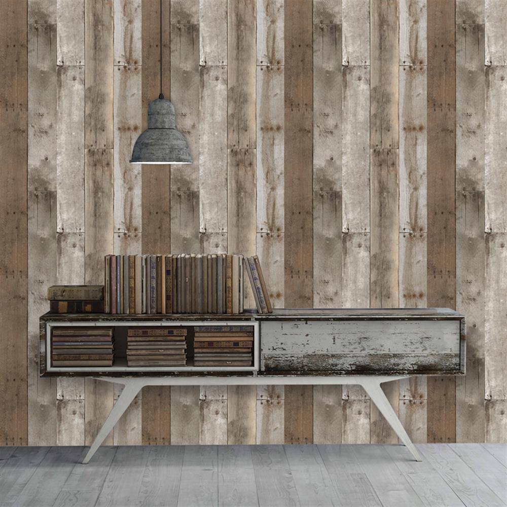 Reclaimed wood industrial loft weathered removable for Removable wallpaper wood paneling