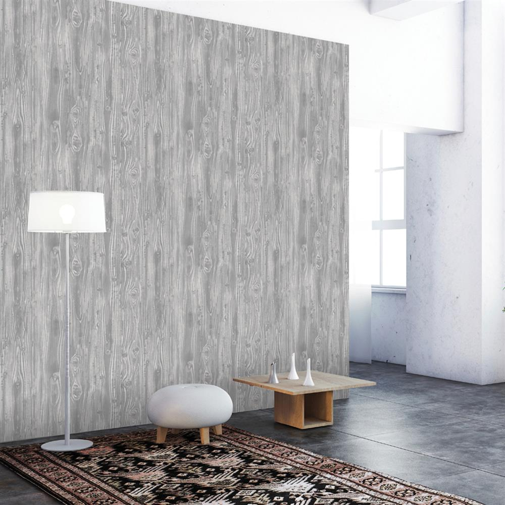 Woodgrain Textured Industrial Loft Pewter Removable Wallpaper
