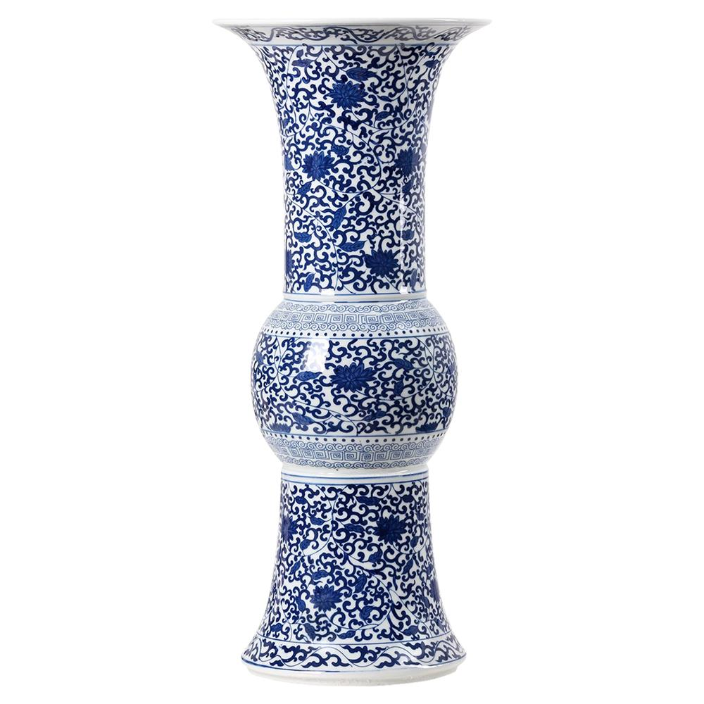 ali global flared base blue blanc de chine tall porcelain vase. Black Bedroom Furniture Sets. Home Design Ideas