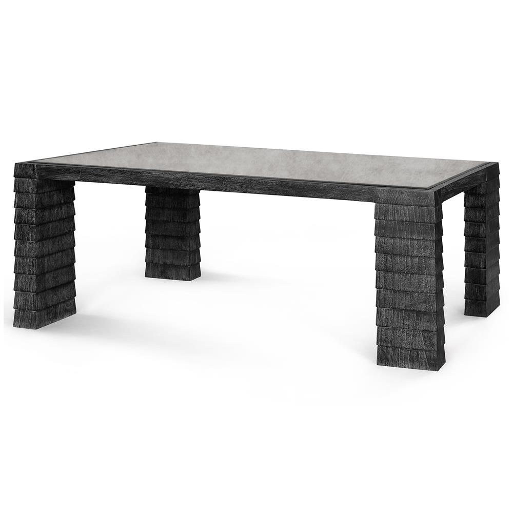 Antique Gray Coffee Tables: Krug Modern Classic Grey Shingle Antique Glass Coffee