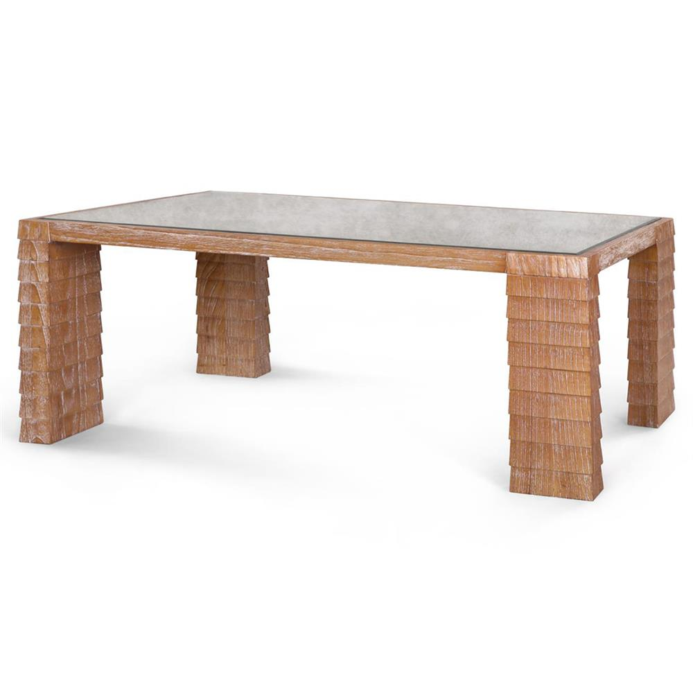 Krug Modern Classic Natural Shingle Antique Glass Coffee Table Kathy Kuo Home