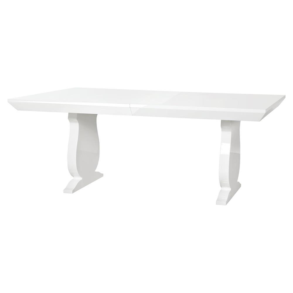 Corbin modern baluster white lacquer adjustable dining table for White lacquer dining table