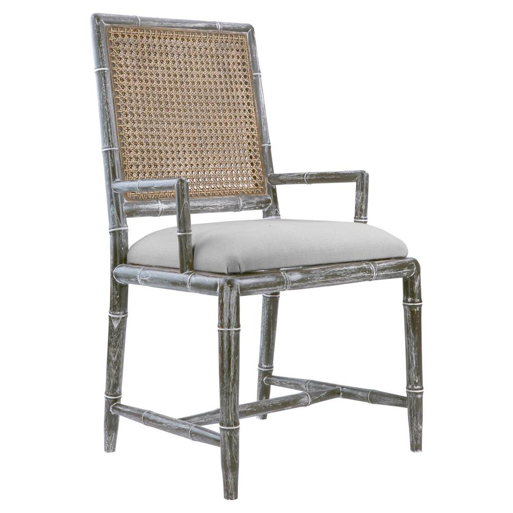 Armande French Country Rustic Grey Caned Bamboo Armchair   Kathy Kuo Home