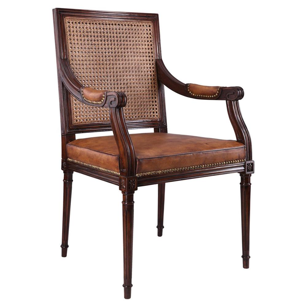 Vianne French Country Brown Leather Antique Mahogany Arm Chair Kathy Kuo Home