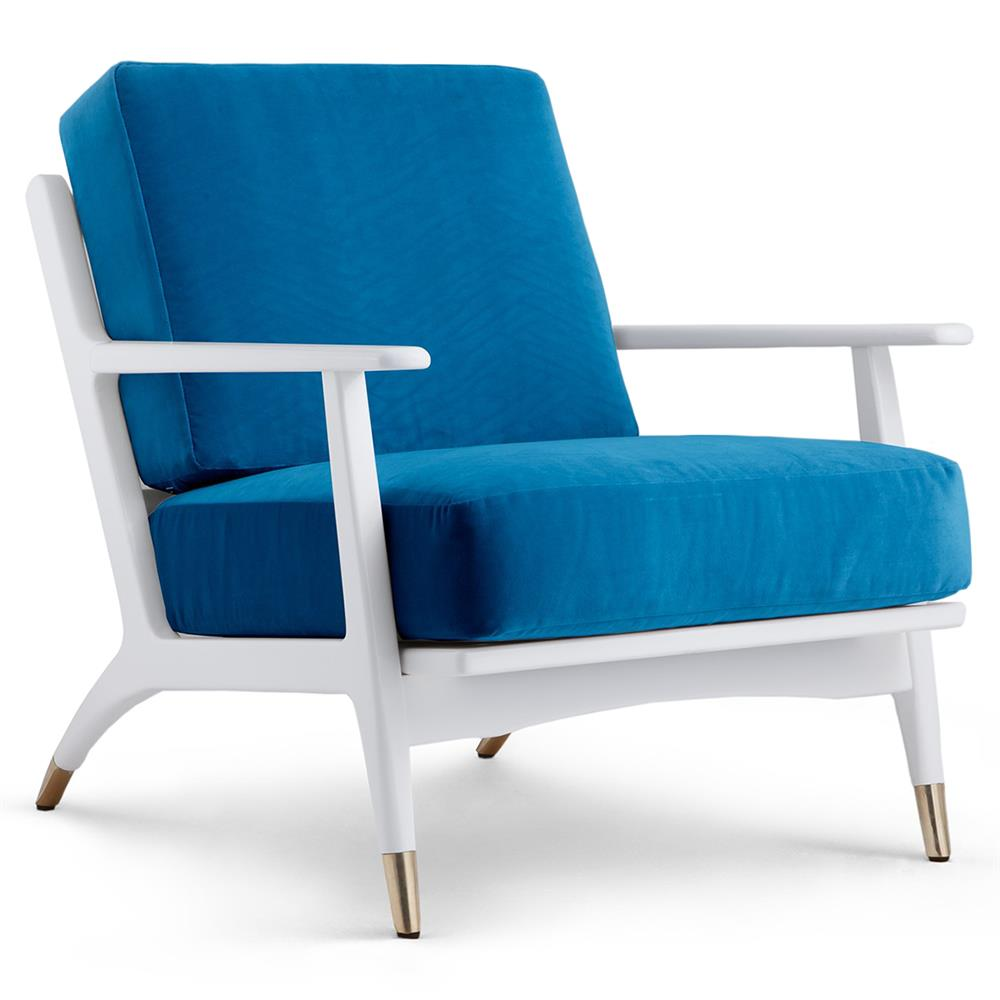 Les Modern Classic Blue Brass Cap White Lounge Chair