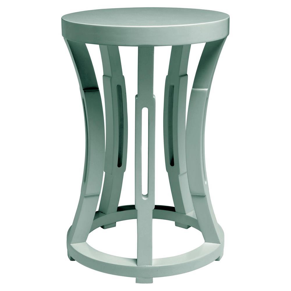 Lantana Modern Coastal Light Teal Blue Side Table Stool