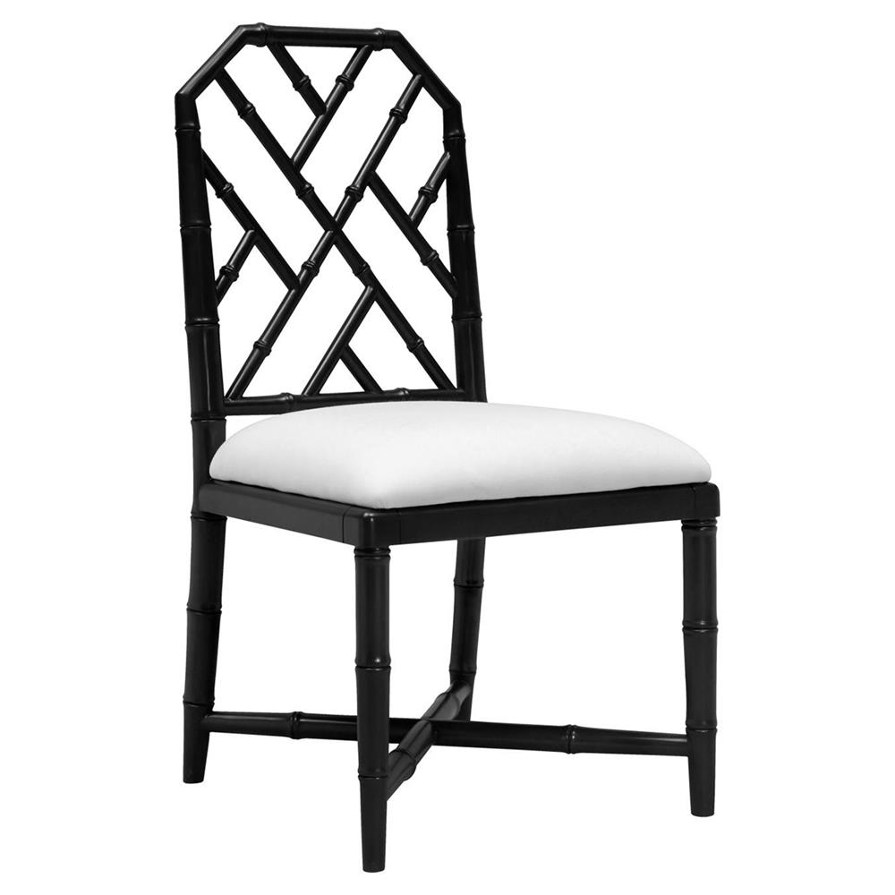 Fontaine Hollywood Regency Black Bamboo Dining Chair