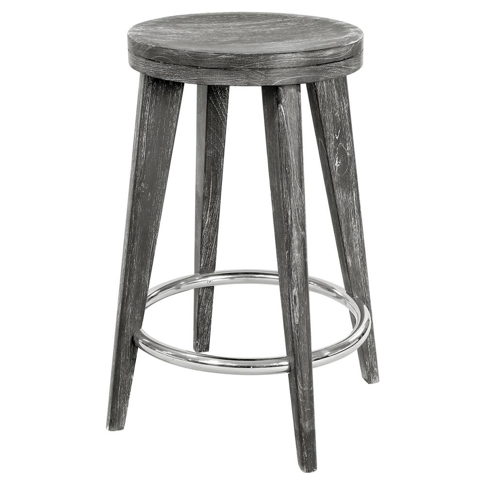 Gerhard Modern Classic Limed Grey Wood Counter Stool