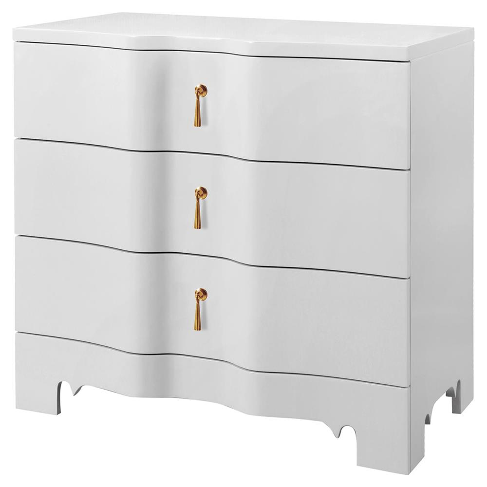Lorna Modern Classic Golden White Lacquer 3 Drawer Nightstand | Kathy Kuo  Home