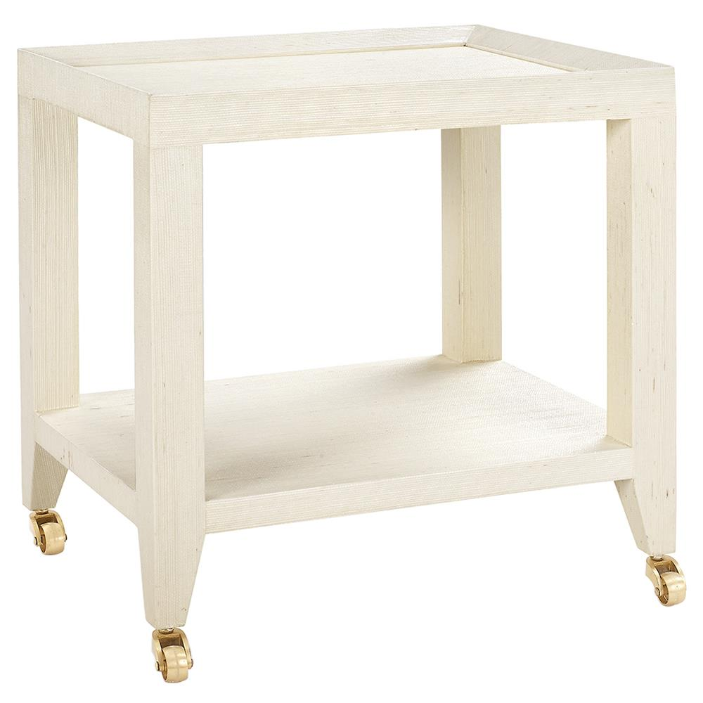 Delen Modern Classic Ivory Grasscloth Rolling Tea Table  Kathy Kuo ...