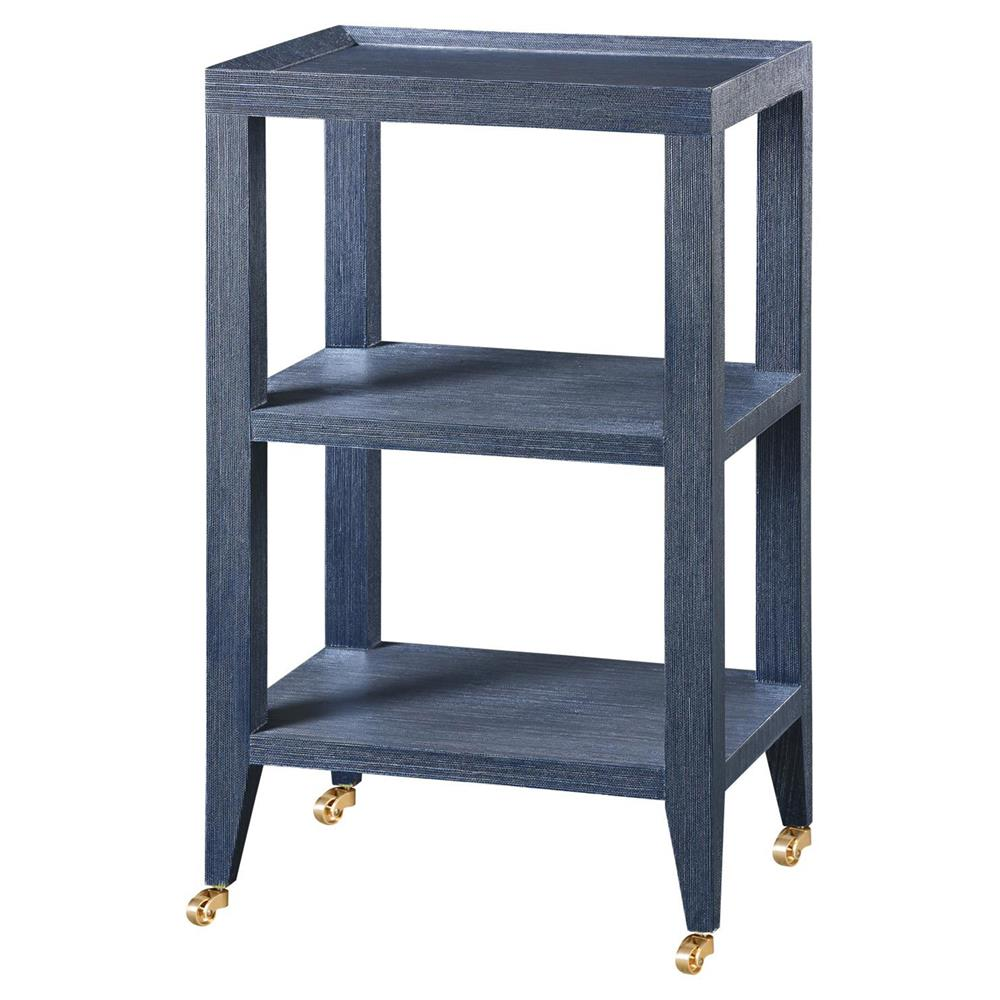 Delen Modern Classic Navy Grass Cloth Tiered Rolling End Table | Kathy Kuo  Home ...