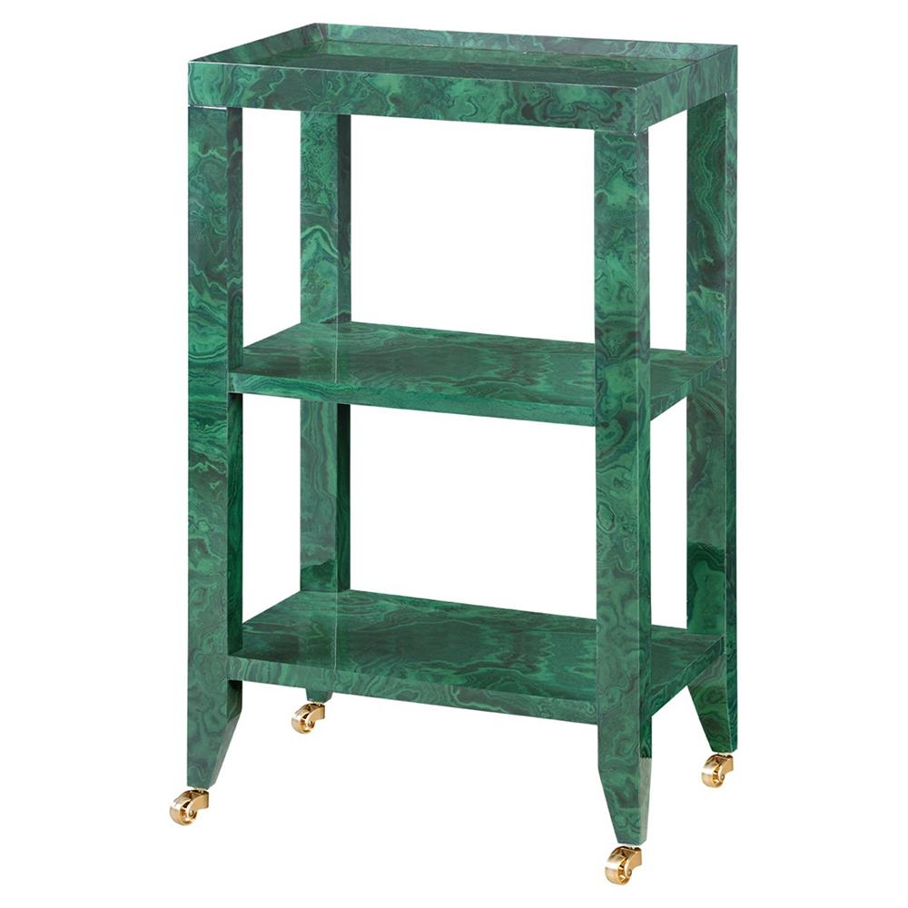 Delen modern classic green marbled tiered rolling end table for Modern classic table