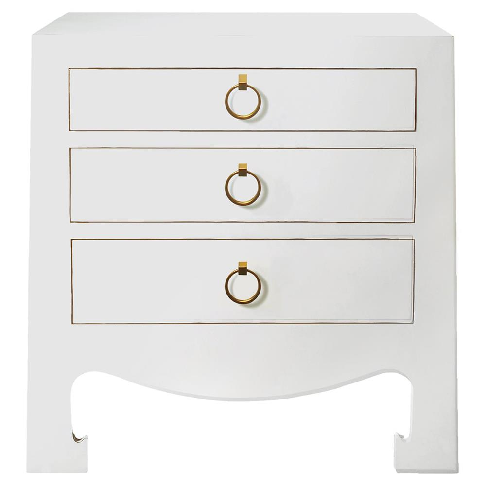 . una hollywood regency golden white lacquer nightstand  kathy kuo home