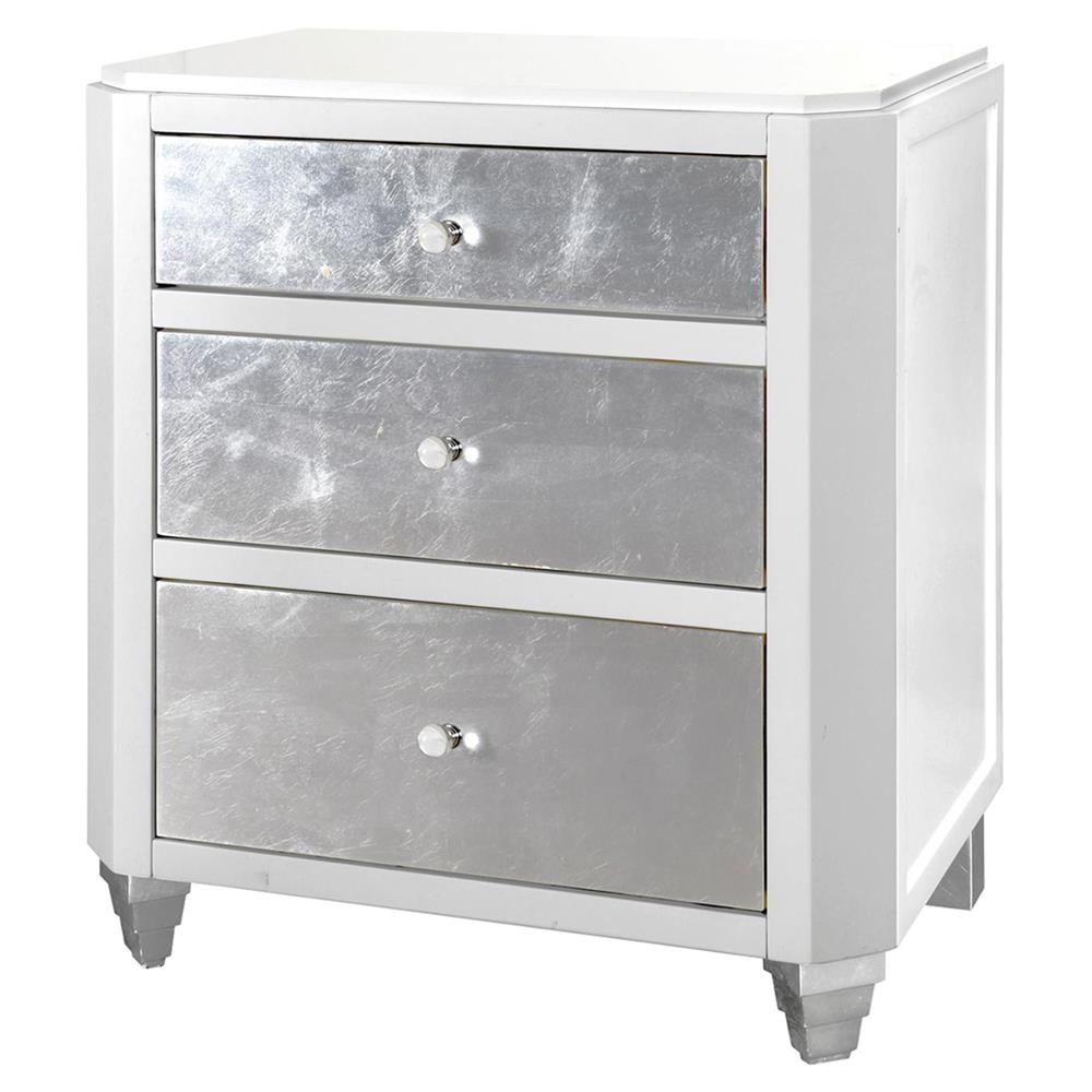 Myrna Hollywood Regency White Lacquer Silver Leaf Nightstand