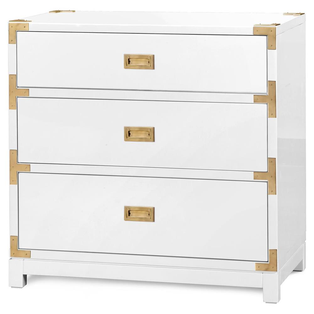 Rex Hollywood Regency White Gold Campaign 3 Drawer Nightstand Kathy Kuo Home