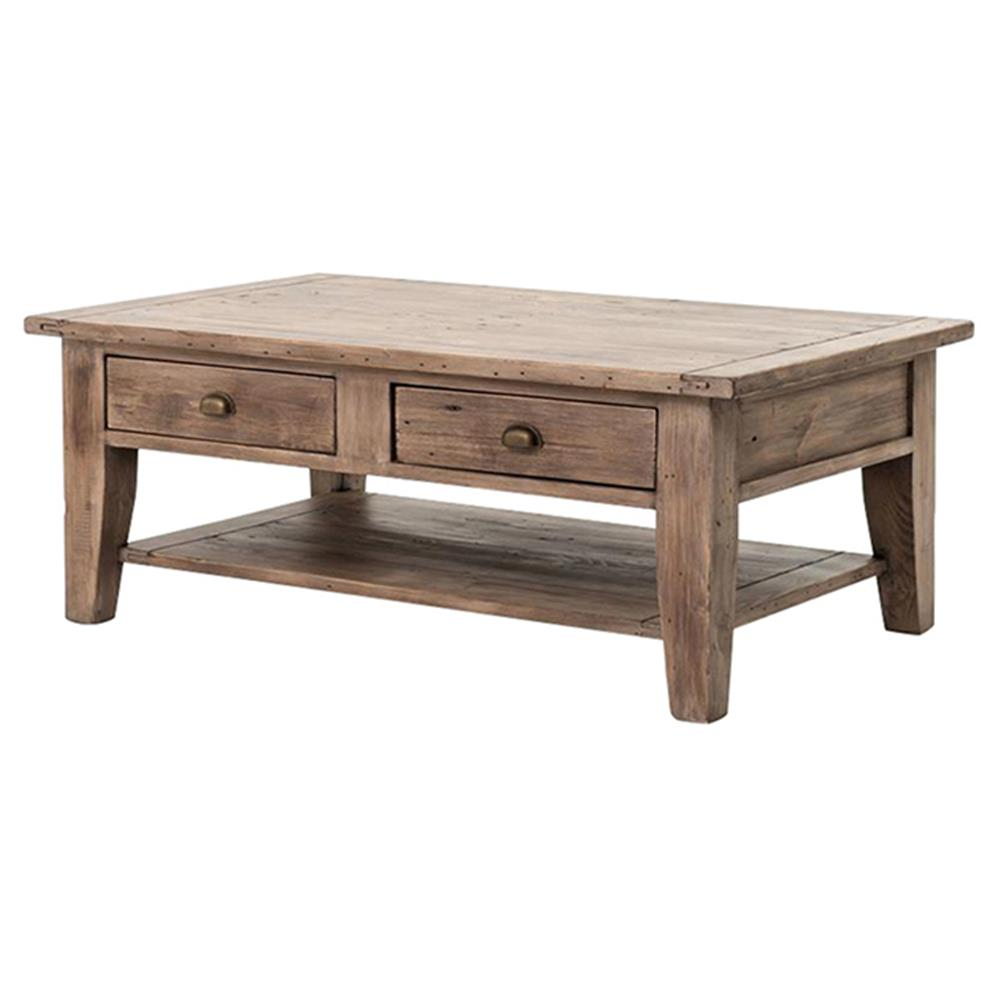 Abram Rustic Lodge Sun Dried Ash Two Drawer Coffee Table | Kathy Kuo Home