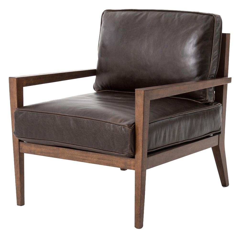 Kyrie Mid Century Brown Leather Angular Armchair Kathy