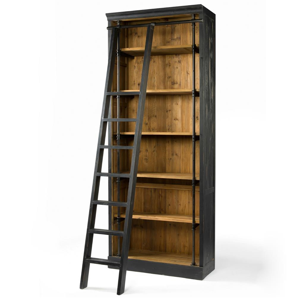 Ashlyn Rustic Lodge Pine Wood Metal Ladder Bookcase  Kathy Kuo Home