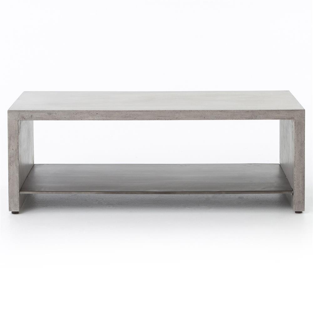 Brayan Industrial Loft Grey Concrete Metal Shelf Coffee Table Kathy Kuo Home