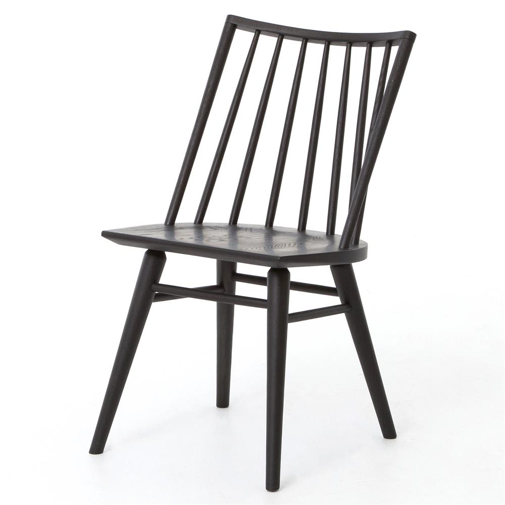 Lara Modern Classic Black Oak Simple Dining Chair Pair Kathy Kuo
