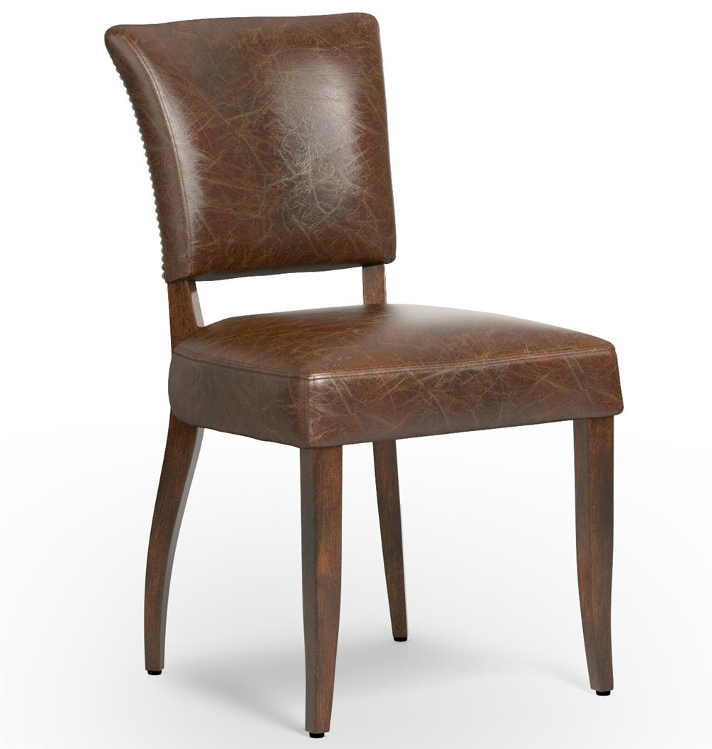 Melba modern classic brown leather dining chair pair for Modern leather dining room chairs
