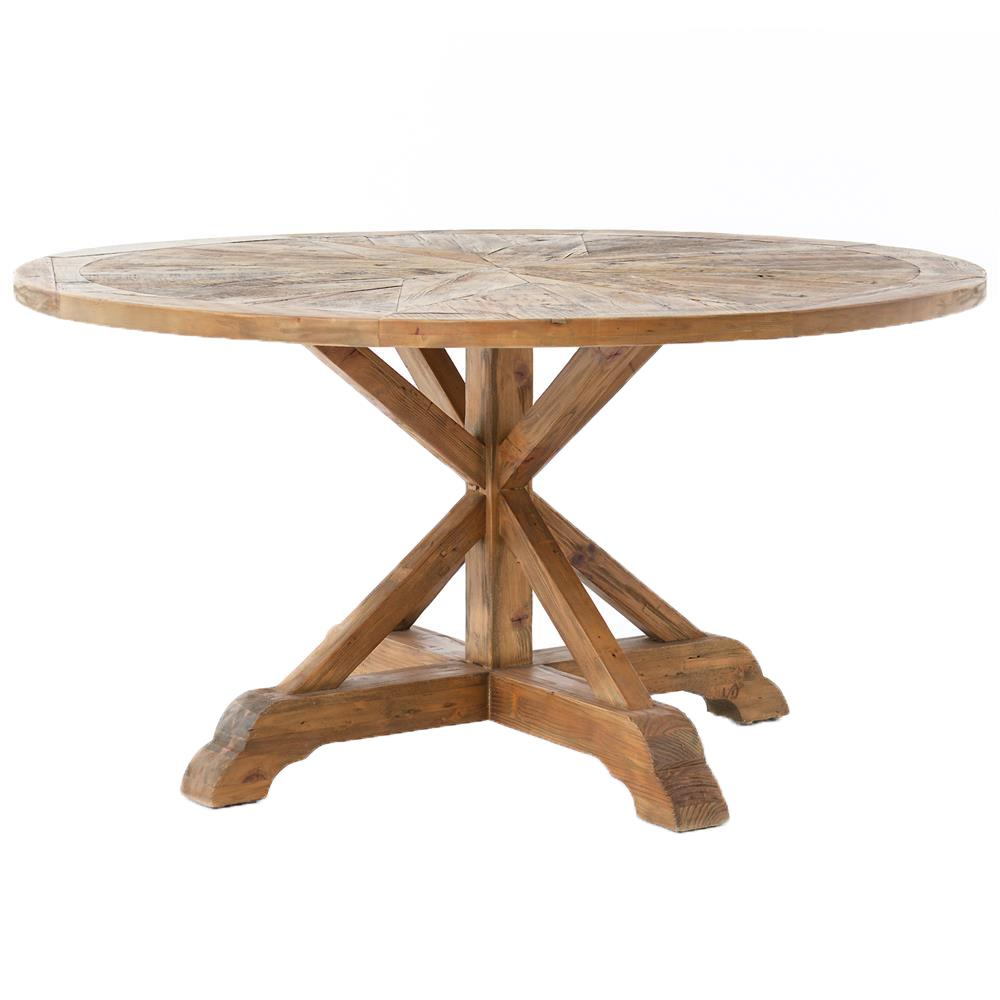 Round Wood Dining Table: Blaise Rustic French Star Wood Round Dining Table