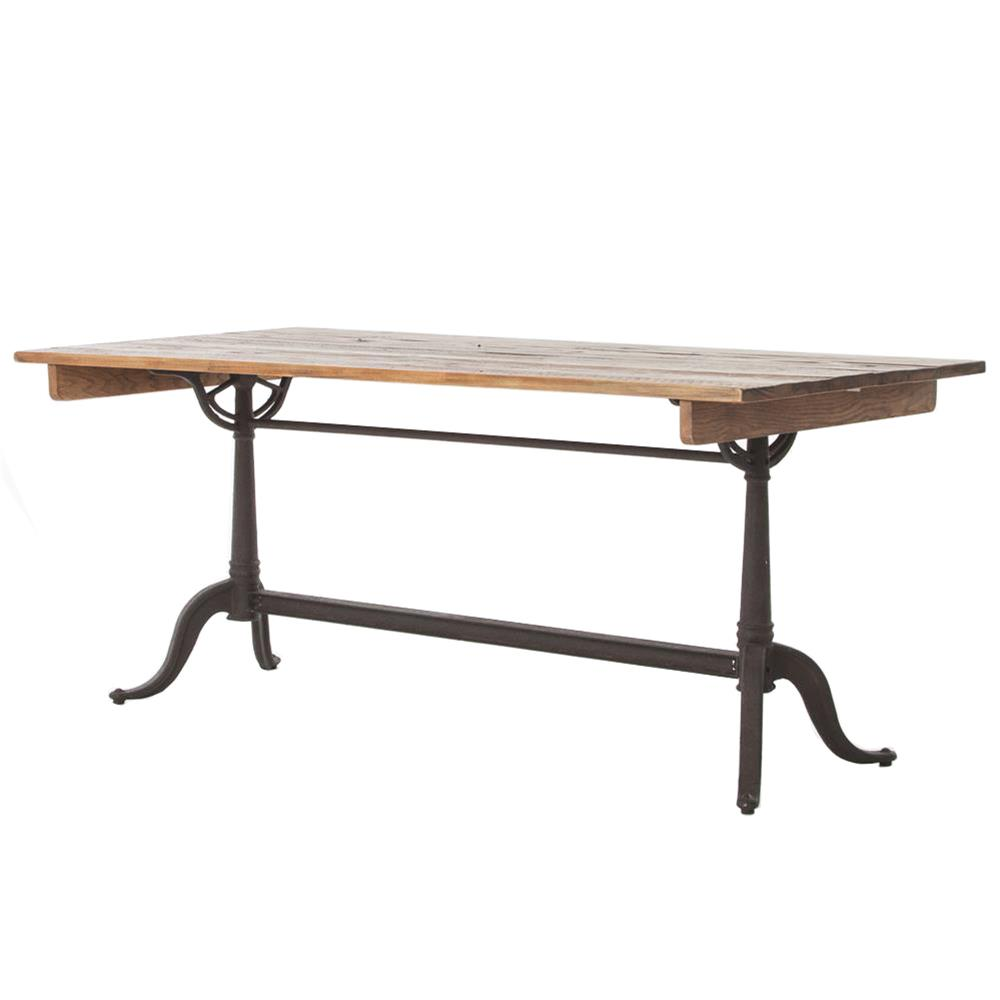 Guy rustic french reclaimed wood iron dining table kathy for Iron dining table