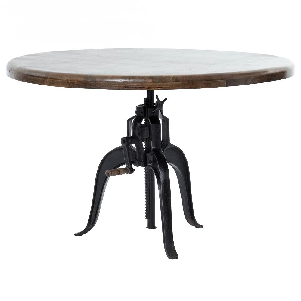 Fergie Industrial Loft Cast Iron Wood Crank Dining Table | Kathy Kuo Home