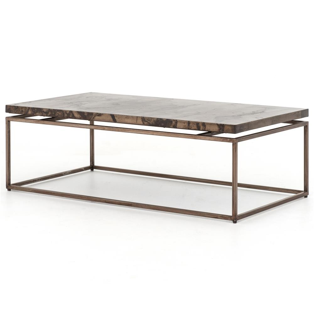 rollins industrial loft bronze iron coffee table | kathy kuo home