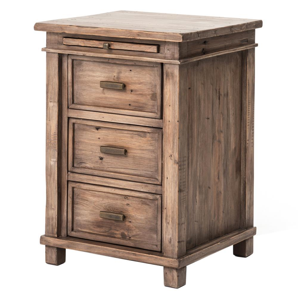 Tom Rustic Reclaimed Pine Antique Brass Nightstand Kathy