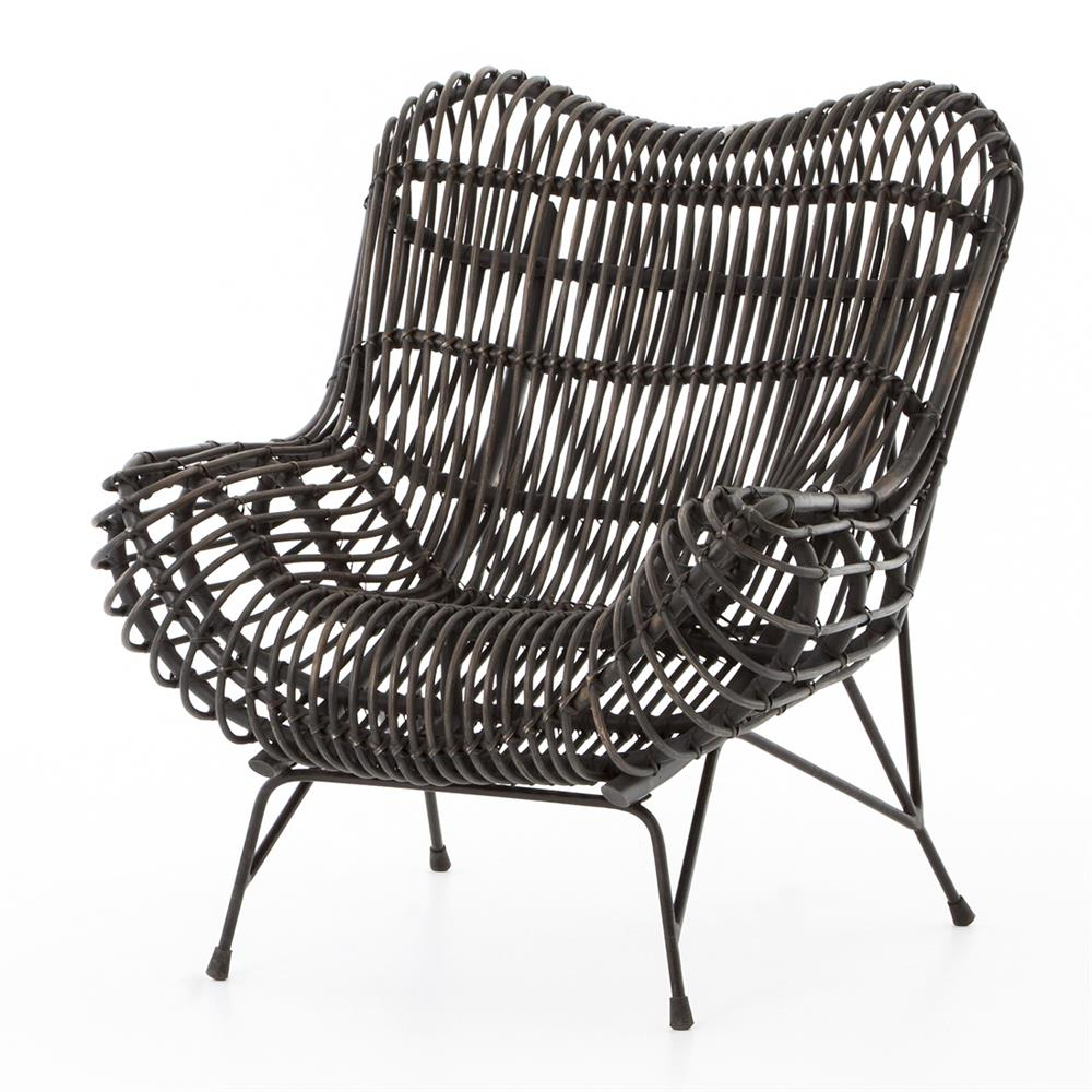 Cowan modern classic black metal wicker chair kathy kuo home for Modern metal chairs