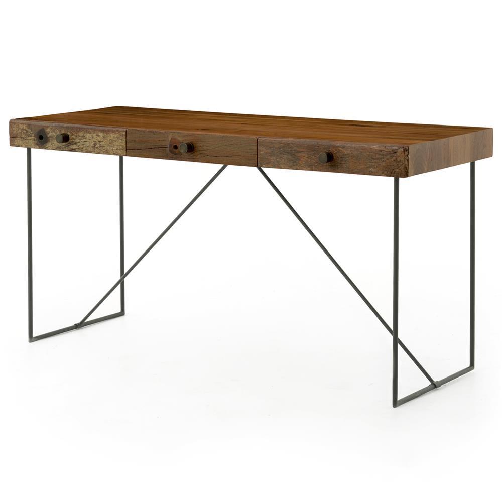 Hugh Rustic Modern Reclaimed Wood Iron Desk
