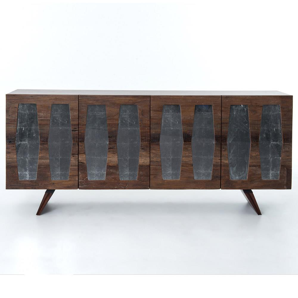Bruce Rustic Lodge Mirrored Cutout Reclaimed Wood Console Cabinet | Kathy  Kuo Home