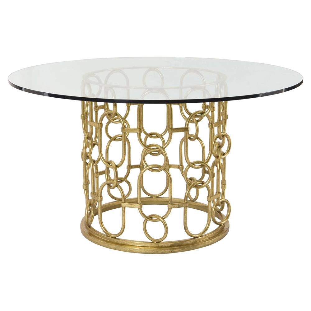 Maxine hollywood regency gold link round glass dining for Glass dining table