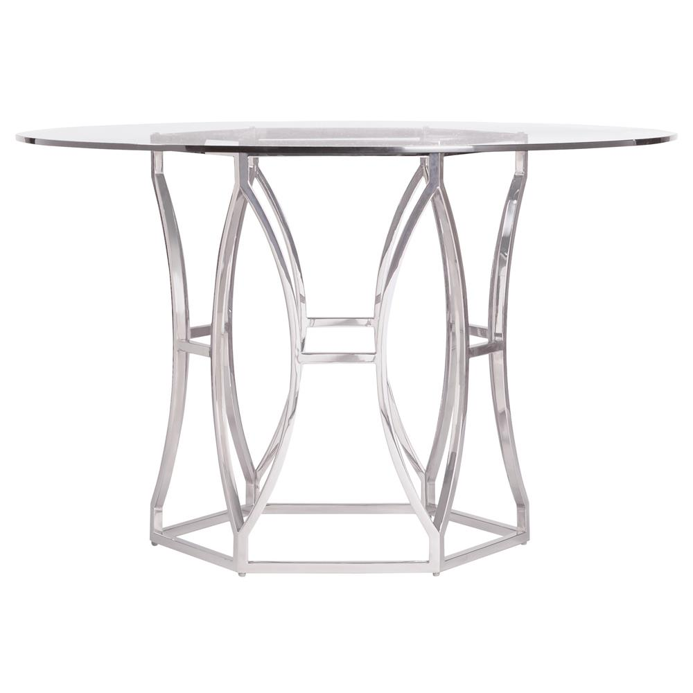 Marci Hollywood Regency Hexagon Polished Steel Round Dining Table