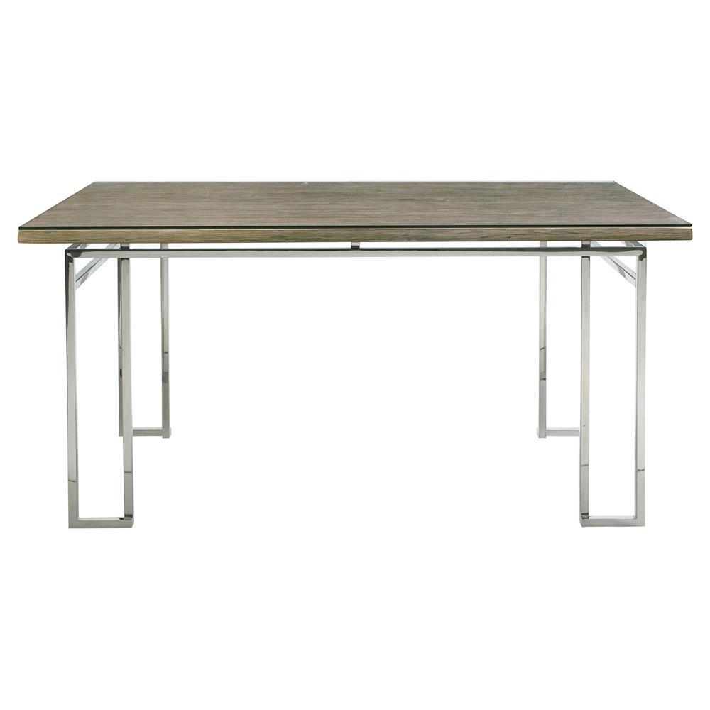 Rei industrial loft stainless steel teak rectangular for Stainless steel dining table