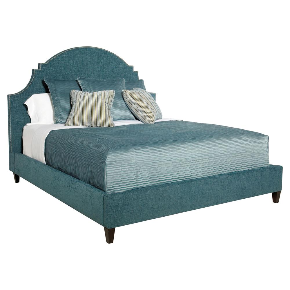 Chambray Global Bazaar Blue Moon Upholstered Queen Bed | Kathy Kuo ...