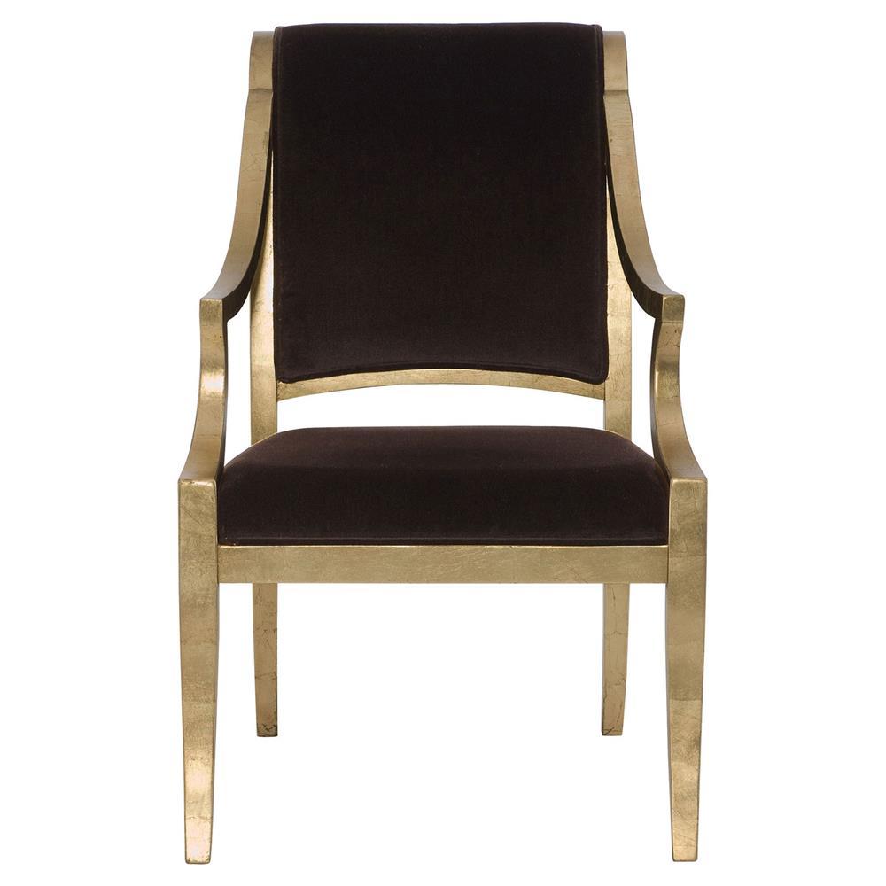 Nicola Global Bazaar Chocolate Brown Gold Leaf Arm Chair
