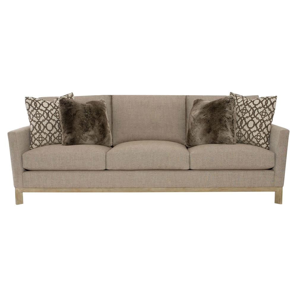 Ernie modern classic brown beige oak sofa kathy kuo home for Sofa modern classic
