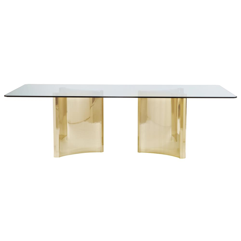 Ellen modern sleek gold double pedestal glass dining table for Glass dining table