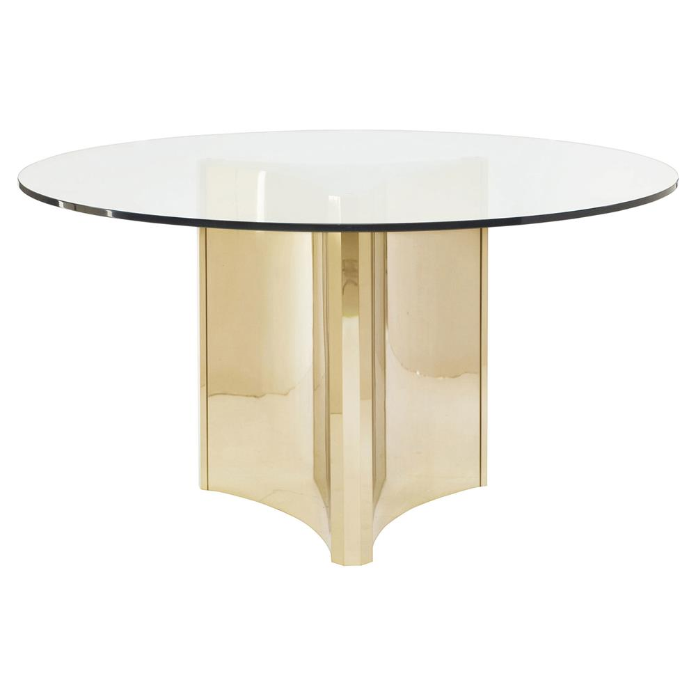 Ellen modern sleek gold round glass top dining table for Sleek dining room tables
