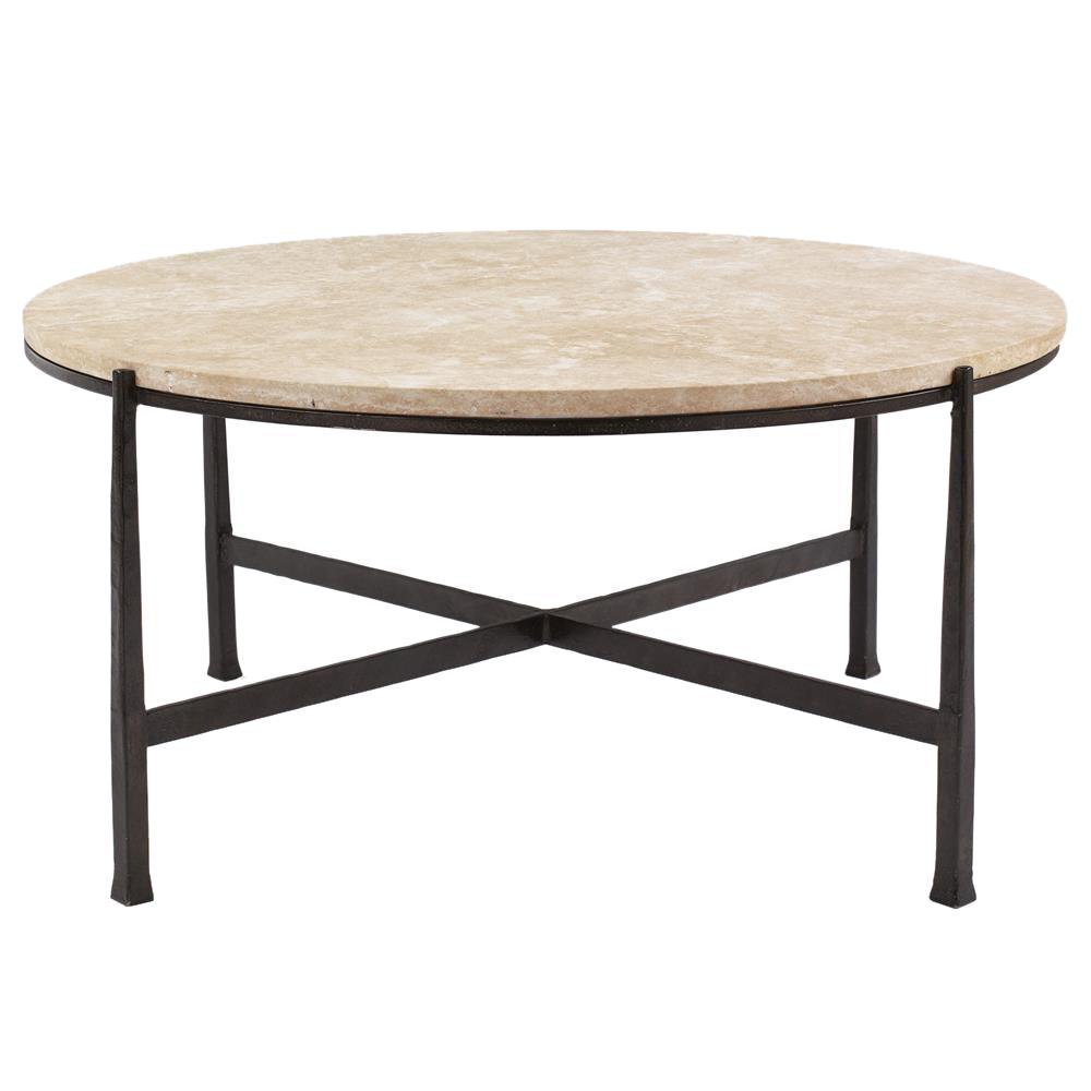 Norfolk industrial loft round metal stone patio coffee for Metal coffee table with stone top