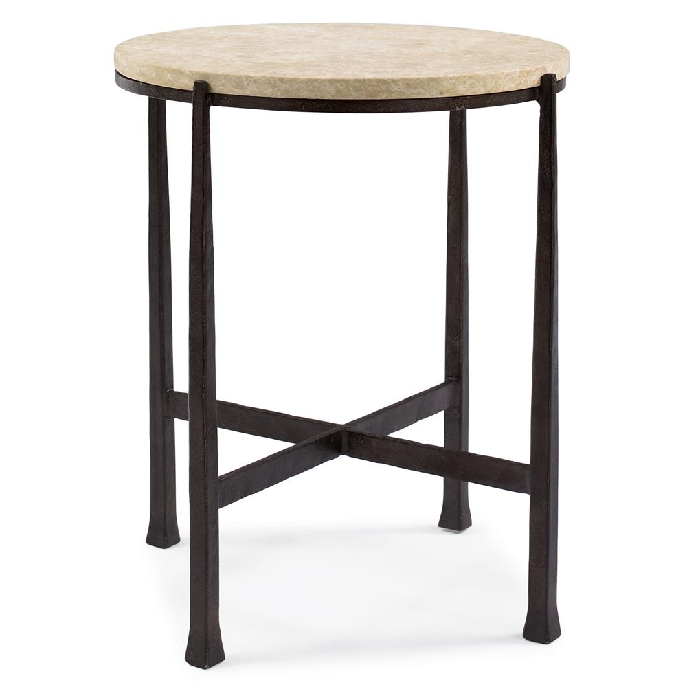 Norfolk Loft Round Metal Stone Patio End Table Kathy Kuo Home